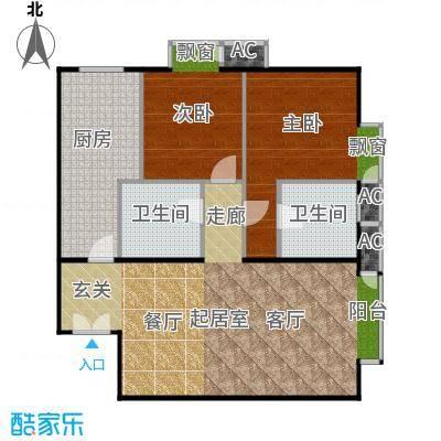 星源国际公寓A01三室一厅二卫一厨户型