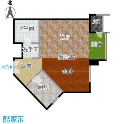 星源国际公寓63.42㎡B08户型1室1厅户型