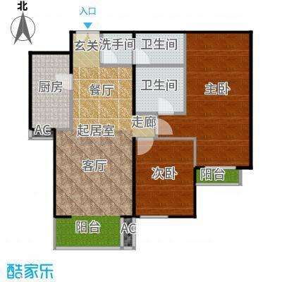 星源国际公寓B03二室二厅二卫一厨户型