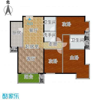 星源国际公寓A02三室二厅二卫一厨户型