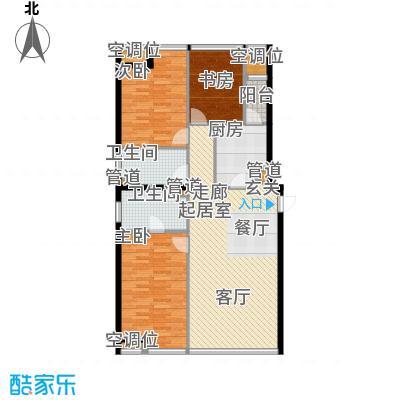 UHN国际村4号楼G户型三室二厅二卫户型