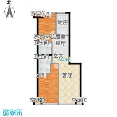 UHN国际村4号楼J户型二室二厅二卫户型