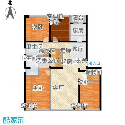 UHN国际村10号楼F户型四室二厅二卫户型