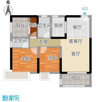 保利中央公馆91.00㎡9栋04单位户型3室1厅2卫1厨
