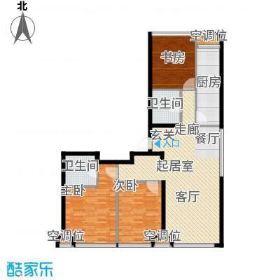 UHN国际村4号楼K户型三室二厅二卫户型