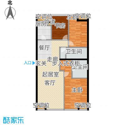UHN国际村4号楼F户型三室二厅二卫户型
