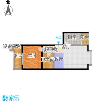 世桥国贸公寓84.58㎡一室两厅一卫户型