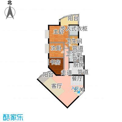 中国第一商城191.08㎡B户型三室两厅两卫户型