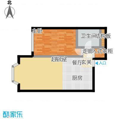 蓝堡国际公寓79.57㎡C03户型,1室1厅1卫户型