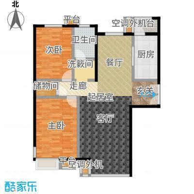 桐城国际124.00㎡D1-A1单元03二室二厅一卫户型