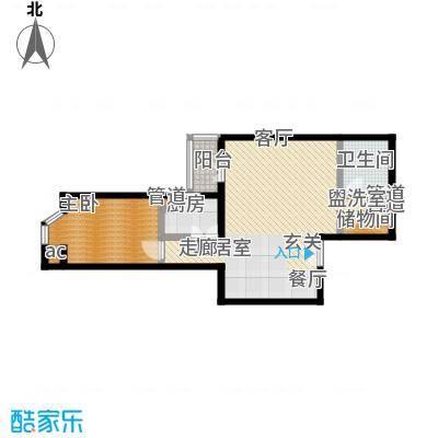 蓝堡国际公寓80.80㎡北区H户型,1室1厅1卫户型
