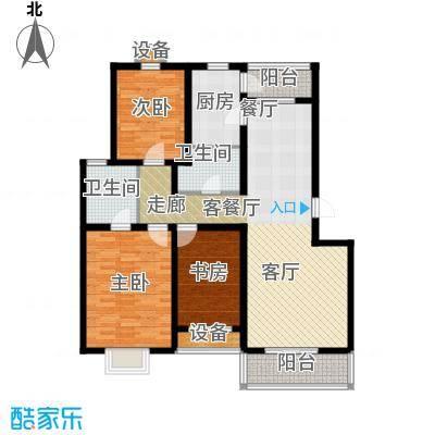 乐东馨园B-3室2厅2卫 119.74㎡户型