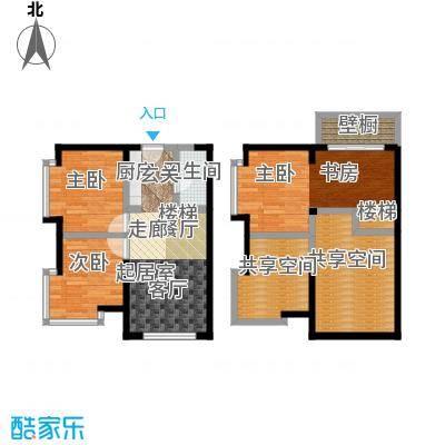 都市斓轩E-2户型 3室2厅1卫76.95㎡户型