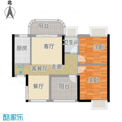 桂丹颐景园88.00㎡心兰/蝶苑/藏珑阁1座04/2座01单位户型2室1厅1卫1厨