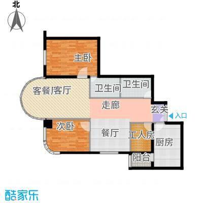 鹏润家园147.48㎡B户型2室2厅2卫