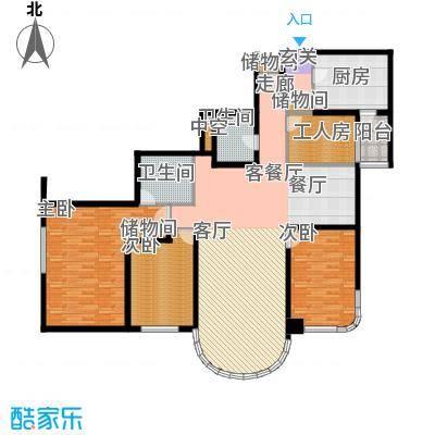 鹏润家园203.88㎡D户型3室2厅2卫