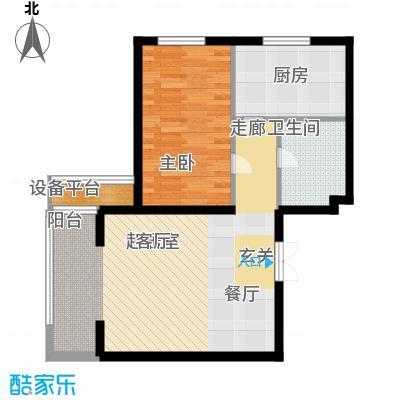 里外里公寓79.37㎡F单元A1户型一室两厅一卫户型