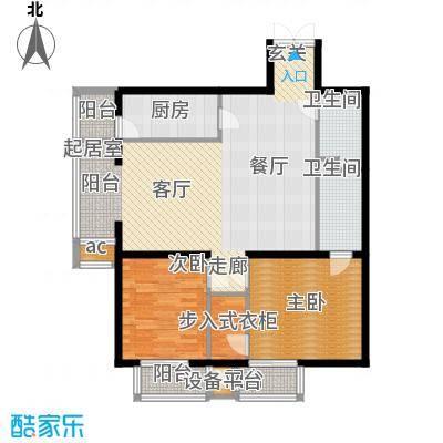 里外里公寓128.04㎡F单元A2户型两室两厅两卫户型