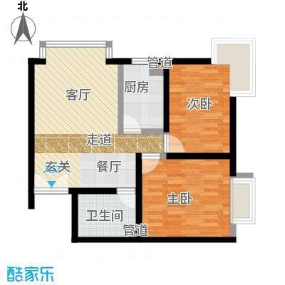 A派公寓77.64㎡B5户型两室两厅一卫户型