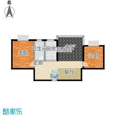 三元极第84.57㎡2房2厅1卫(J1)户型