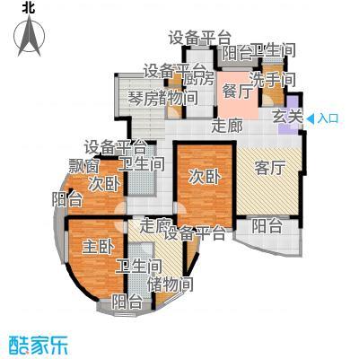 金桥爱建园156.00㎡房型: 四房; 面积段: 156 -180 平方米; 户型