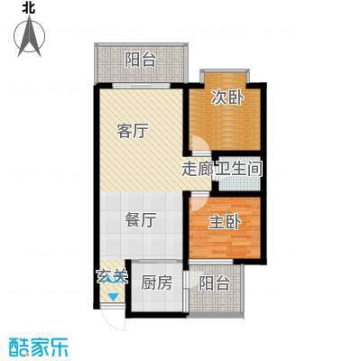宏鑫锦江国际88.60㎡2室2厅1卫A户型2室2厅1卫