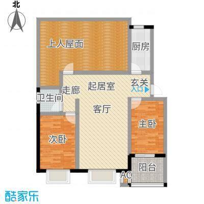 徐水富郦城105.00㎡A户型两室两厅一卫户型2室2厅1卫