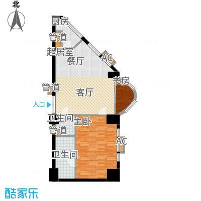 世华国际中心121.94㎡G户型一室二厅二卫户型
