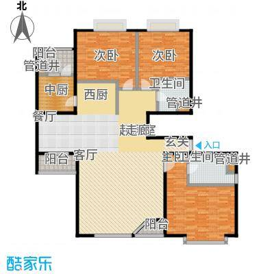 FESCO国际公寓(外企公寓)174.76㎡3室2厅2卫1厨户型