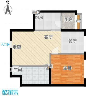 观筑金洋国际92.79㎡B3一室两厅一卫户型
