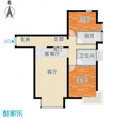 优品国际公寓113.55㎡五单元01'(2-3层)两室户型2室1厅1卫1厨
