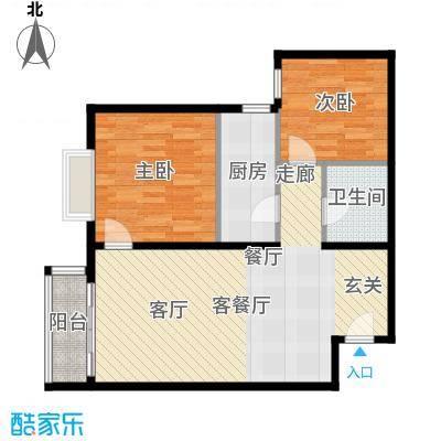 优品国际公寓91.61㎡三单元02两室户型2室1厅1卫1厨