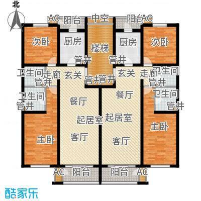 朝阳旺角91.81㎡13591519#楼标准层户型