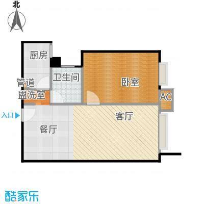 朝阳旺角76.97㎡双鱼座一室一厅一卫(已售完)户型