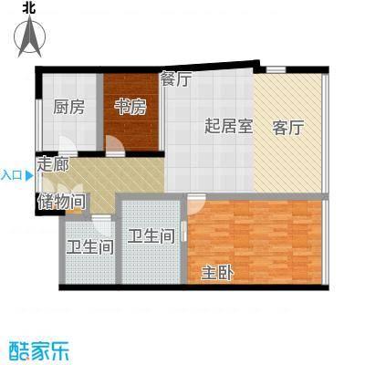 C-PARK西派国际公寓2号楼B户型两室两厅两卫137.36户型