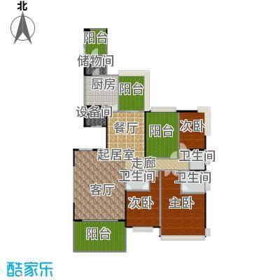 锦绣山河三期锦园G1户型3室3卫1厨