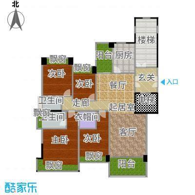 锦绣山河三期锦园L1两阳台户型4室2卫1厨
