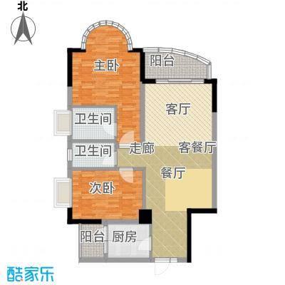 香港街二期100.54㎡户型2室1厅2卫1厨