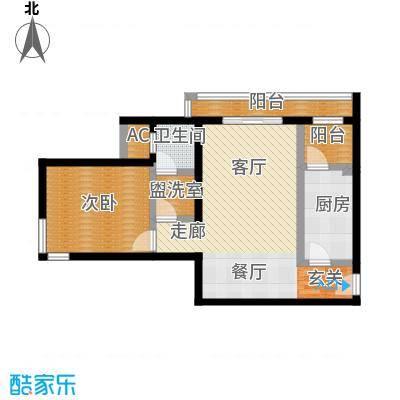 亮马新世家一室二厅一卫73.78m2户型