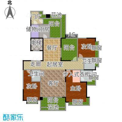 锦绣山河三期锦园2K2三阳台户型3室3卫1厨