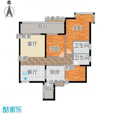 富盈东方华府三期紫峰111.66㎡户型3室2卫1厨