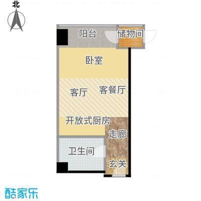 锐创国际中心51.81㎡海豚湾F一居室户型10室