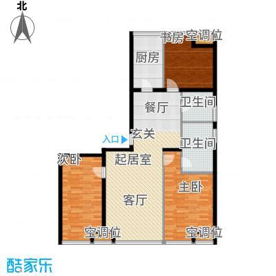 UHN国际村4号楼B户型三室二厅二卫户型