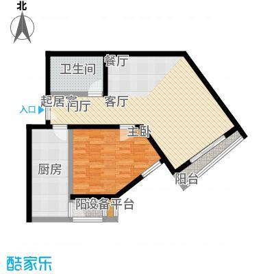 锦绣嘉园73.00㎡一室两厅一卫户型