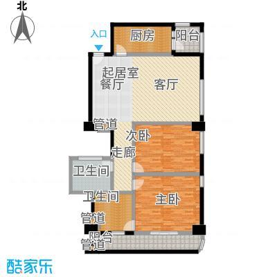 旺座中心136.43㎡2室2厅2卫1厨户型