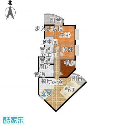 中国第一商城191.08㎡C户型三室两厅两卫户型