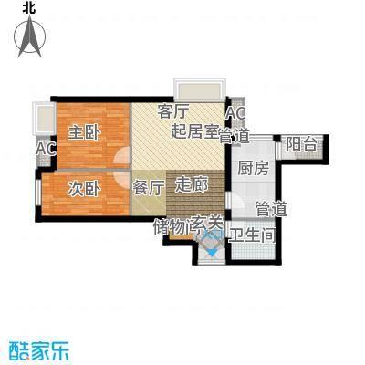 融科橄榄城87.00㎡12-2F户型二室二厅一卫户型