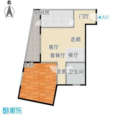 静馨嘉苑76.38㎡一室二厅一卫户型
