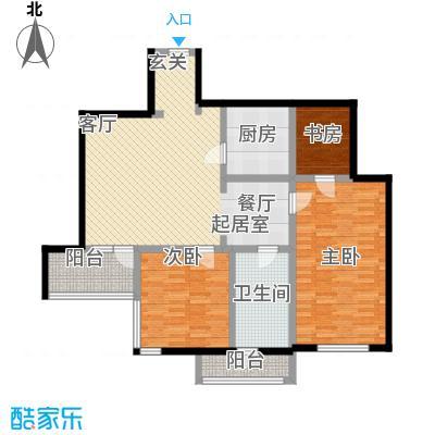 城市芳庭108.65㎡二室二厅二卫户型