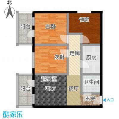 康泽园80.00㎡三室一厅一卫户型